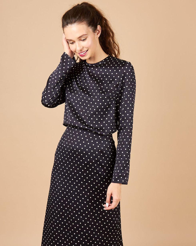 12Storeez Комплект: топ и юбка в горох (черный) юбка карандаш укороченная printio белый горох