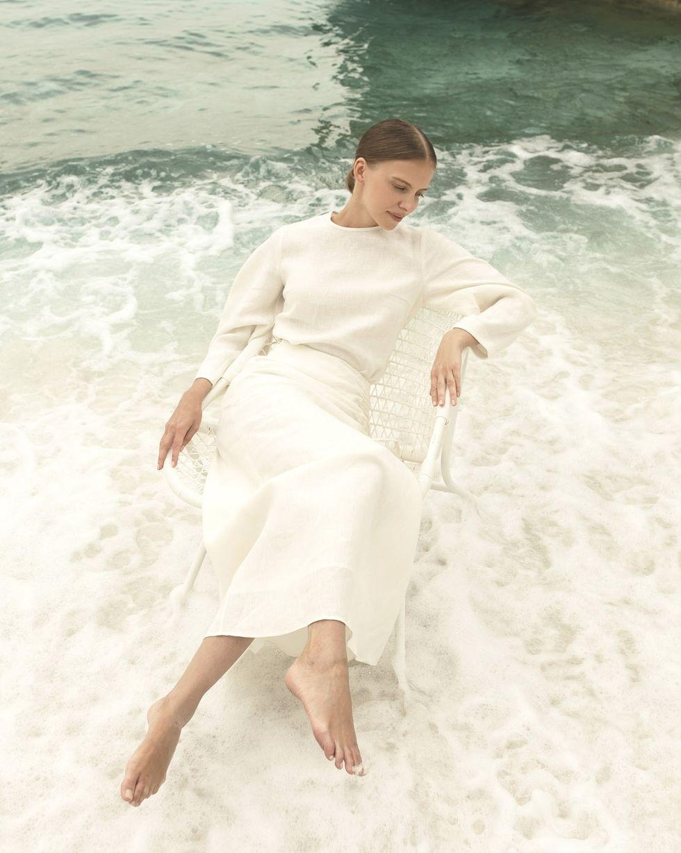 12Storeez Комплект: Топ с объемными рукавами  юбка миди (молочный)
