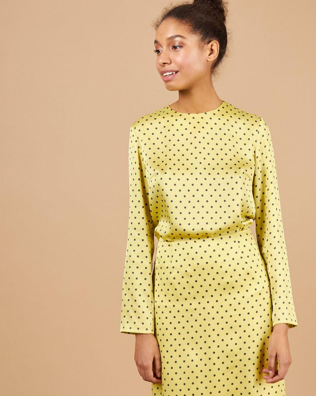 12Storeez Комплект: Топ с длинными рукавами и юбка миди в горох (желтый) 12storeez платье с плиссированным низом в горох желтый