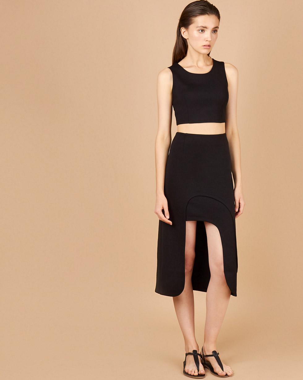 12Storeez Комплект: Укороченный топ и юбка миди (черный) soft line горничная юбка топ и украшение на шею
