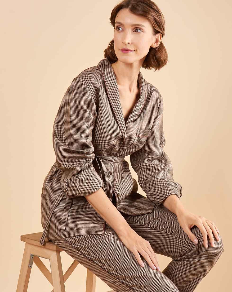 12Storeez Комплект: Рубашка с брюками изо льна (коричневый) цена