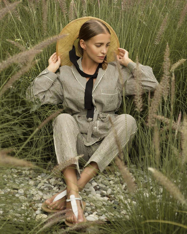 12Storeez Комплект: Рубашка с брюками изо льна (зелено-молочный) цена и фото