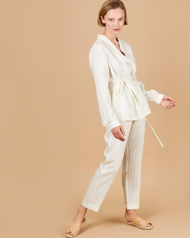12Storeez Комплект: Рубашка с брюками изо льна (белый с полоской) 12storeez комплект рубашка с шортами изо льна песочный
