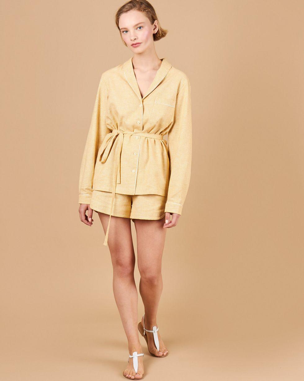 12Storeez Комплект: Рубашка с шортами изо льна (желтый) 12storeez рубашка в мужском стиле изо льна черный