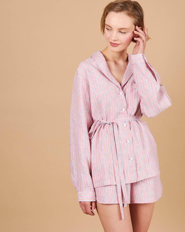 12Storeez Комплект: Рубашка с шортами изо льна (розовый) 12storeez рубашка в мужском стиле изо льна молочный