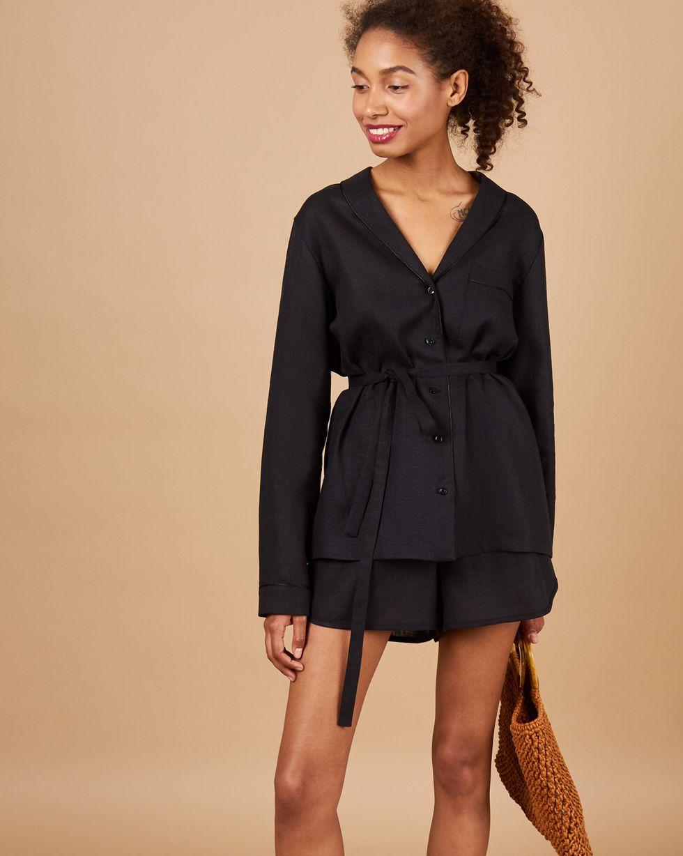 12Storeez Комплект: Рубашка с шортами изо льна (серо-черный) 12storeez рубашка в мужском стиле изо льна черный