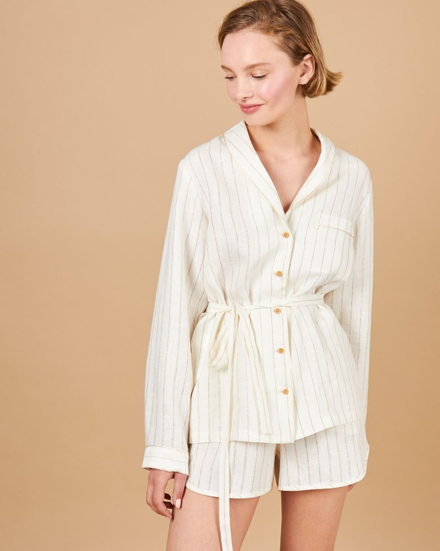 12Storeez Комплект: Рубашка с шортами изо льна (белый с полоской) 12storeez комплект рубашка с шортами изо льна песочный