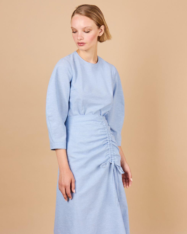 12Storeez Комплект: Топ с объемными рукавами  юбка миди (голубой)