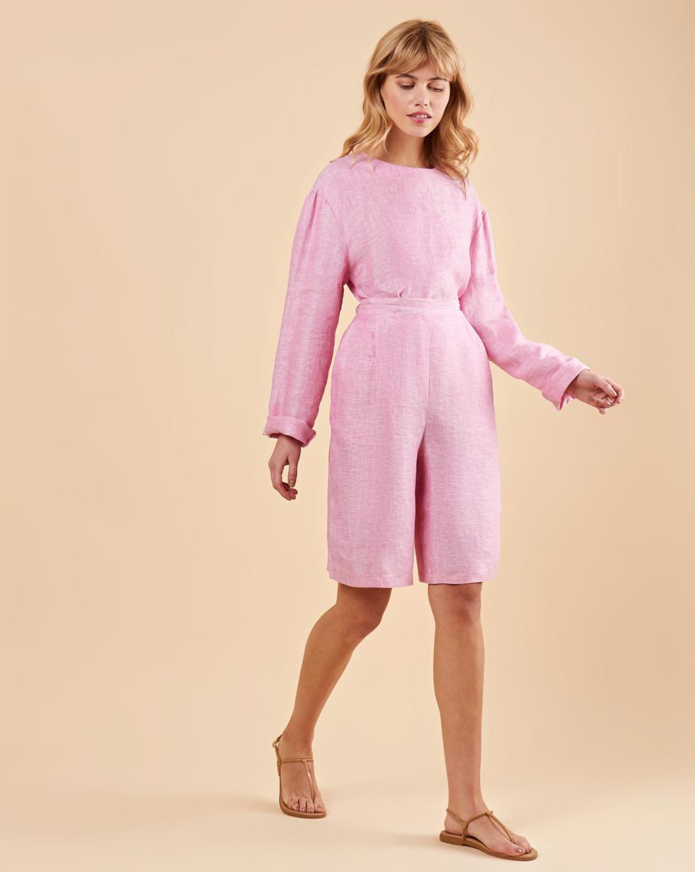 12Storeez Костюм: Топ с длинными рукавами и удлиненные шорты изо льна (розовый)