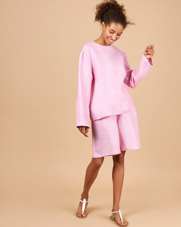 12Storeez Костюм: Топ и удлиненные шорты изо льна (розовый) розовый топ