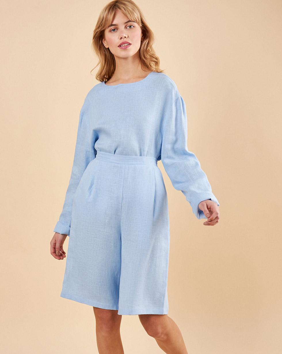 12Storeez Костюм: Топ с длинными рукавами и удлиненные шорты изо льна (голубой)
