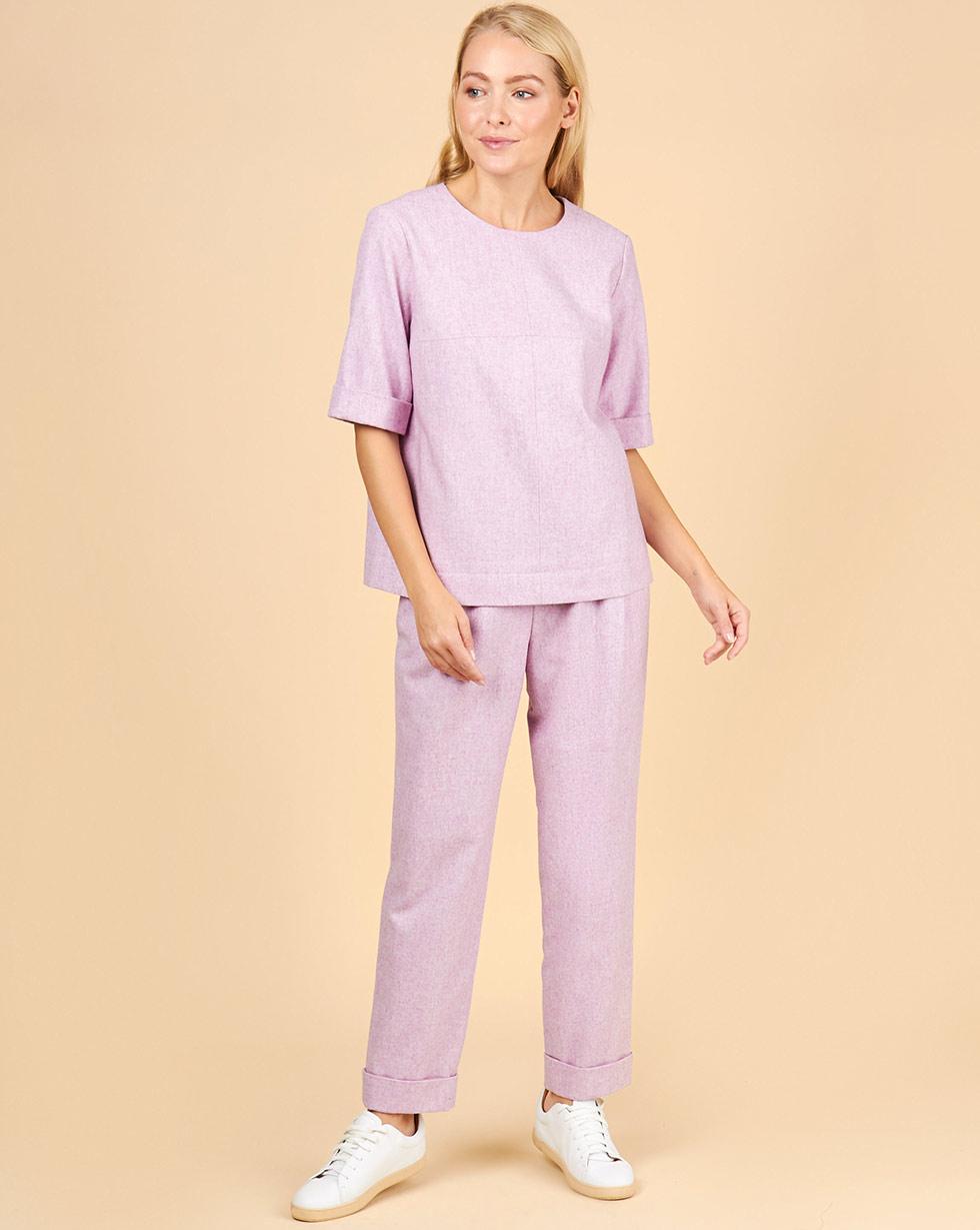 12Storeez Комплект: Топ с короткими рукавами и брюки (сиреневый) 12storeez комплект жилет и плиссированная юбка светло сиреневый сиреневый