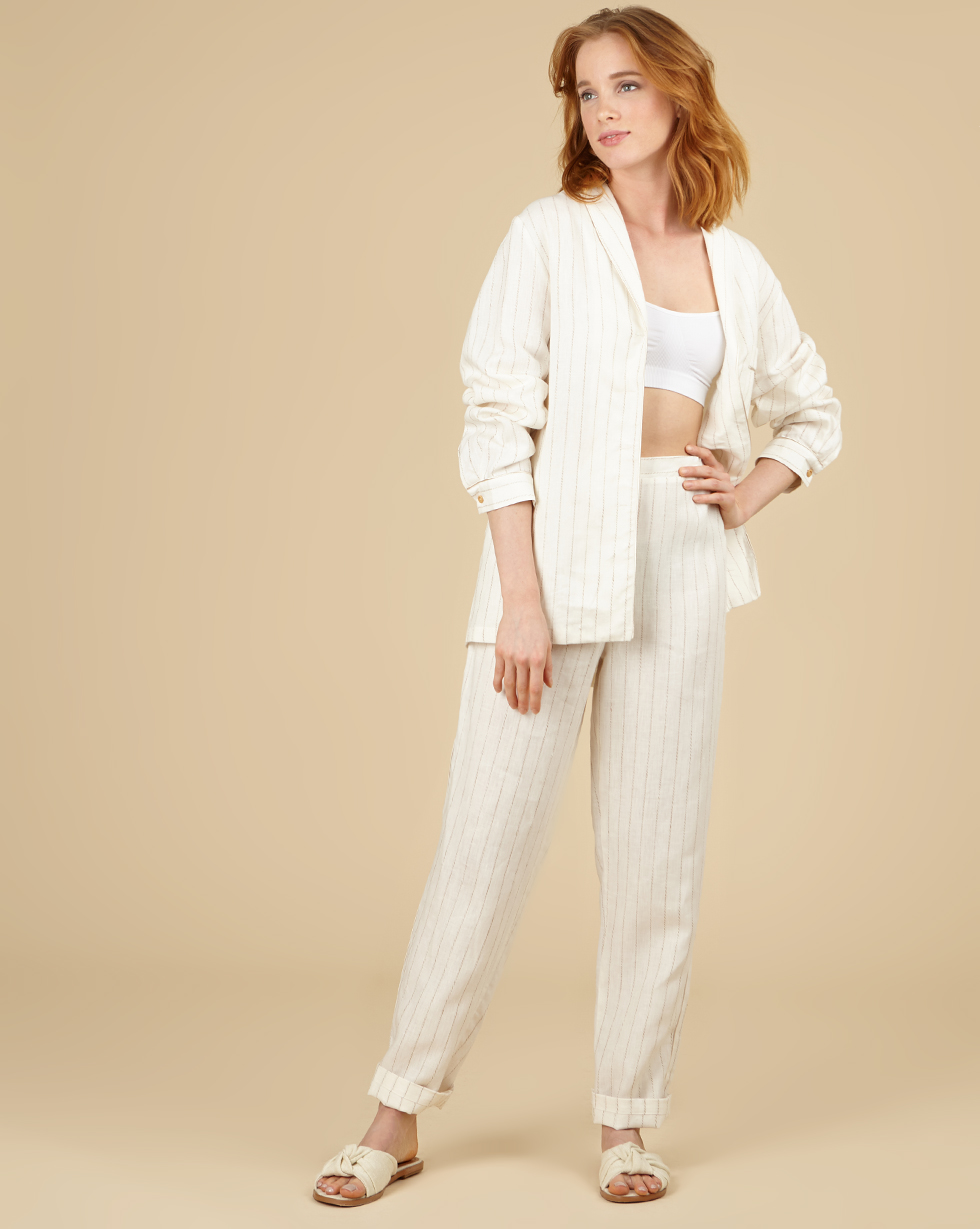 12Storeez Комплект: Рубашка с брюками изо льна (молочный в полоску) 12storeez рубашка в мужском стиле изо льна черный