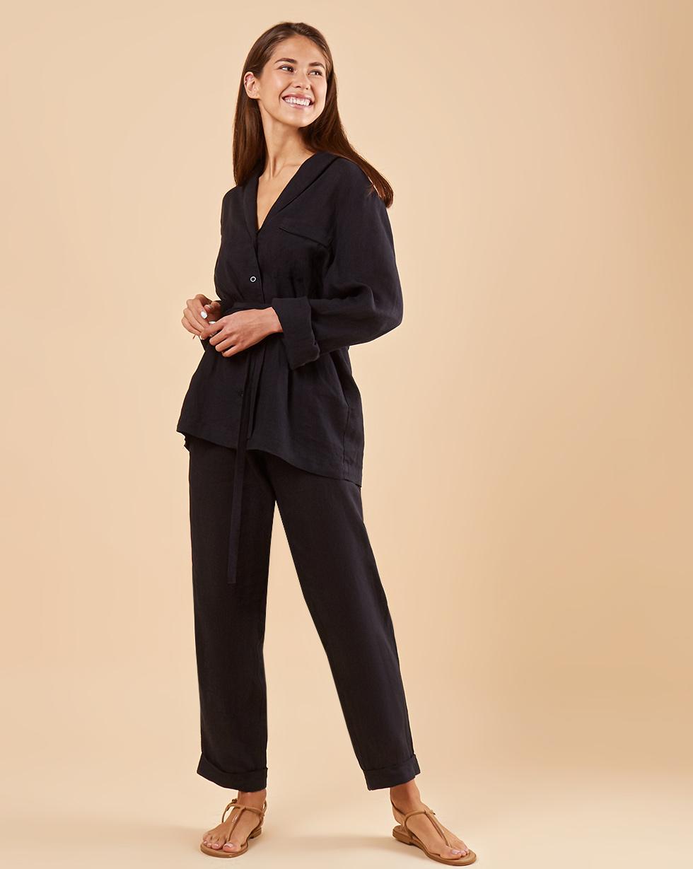 Фото - 12Storeez Комплект: Рубашка с брюками изо льна (черный) 12storeez комплект рубашка с брюками изо льна коричневый
