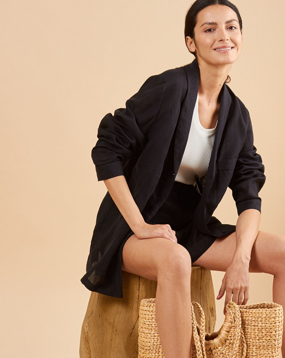 12Storeez Комплект: Рубашка с шортами изо льна (черный) 12storeez комплект рубашка с шортами изо льна песочный
