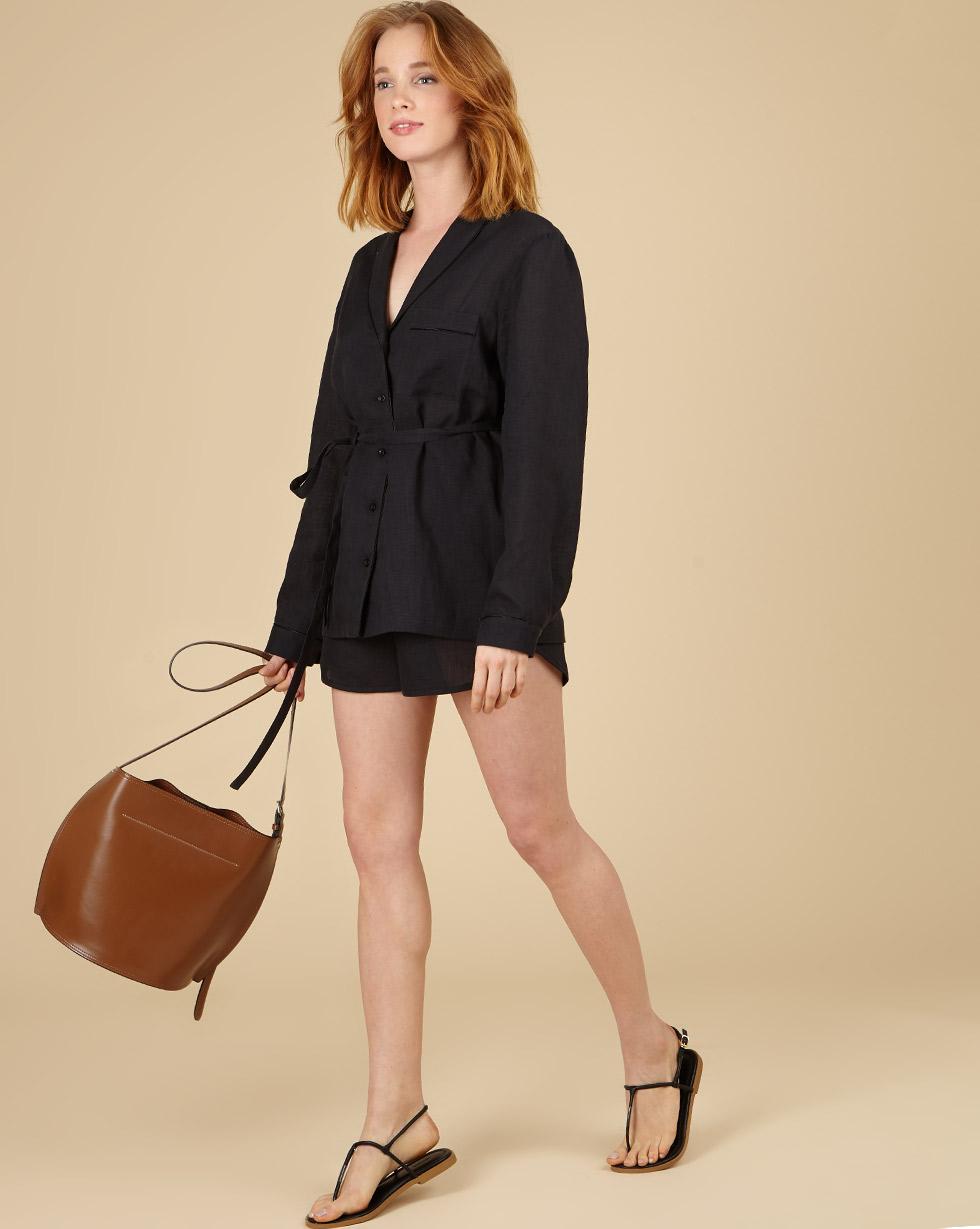 12Storeez Комплект: Рубашка с шортами изо льна (черный)