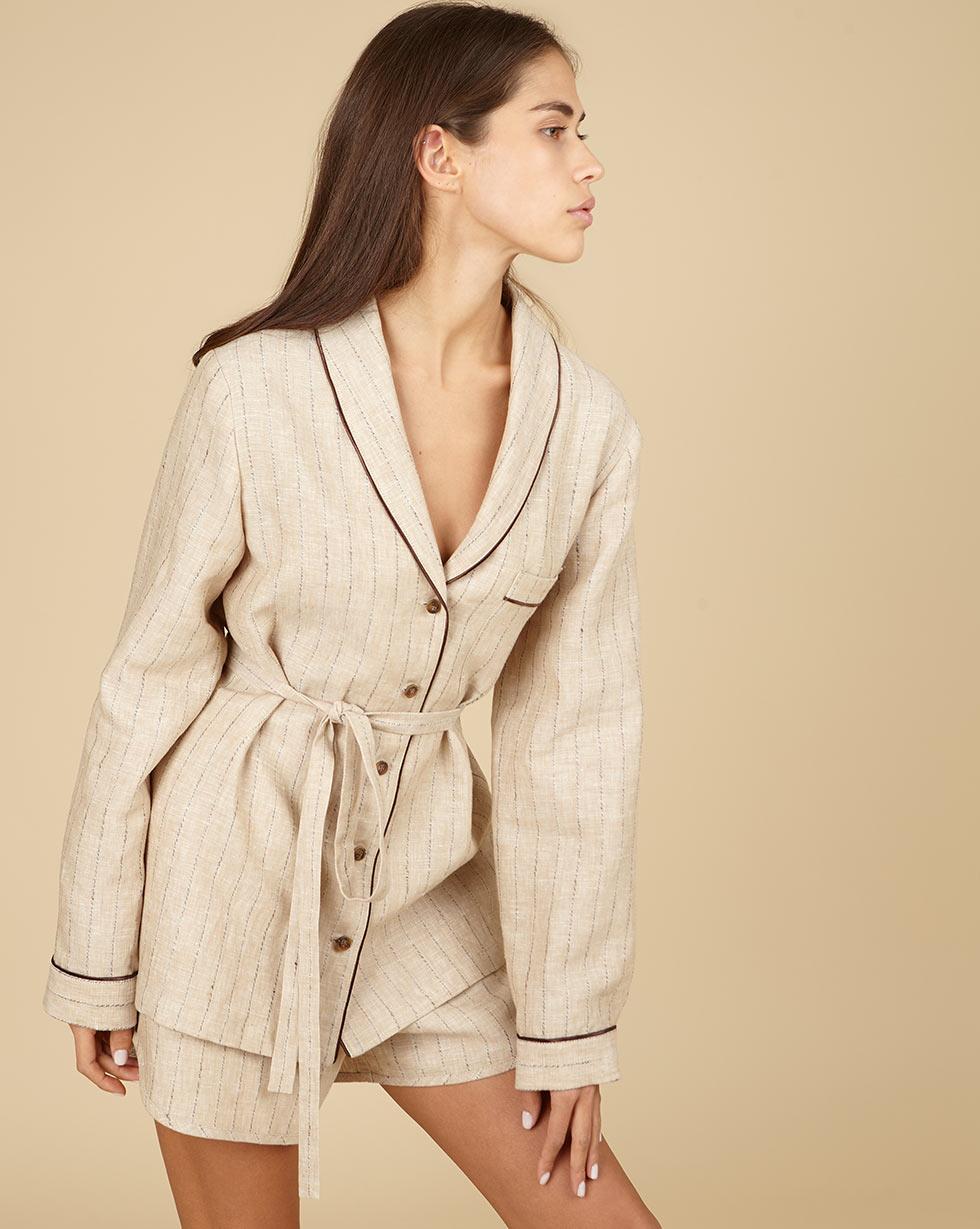 12Storeez Комплект: Рубашка с шортами изо льна (кремовый в полоску)