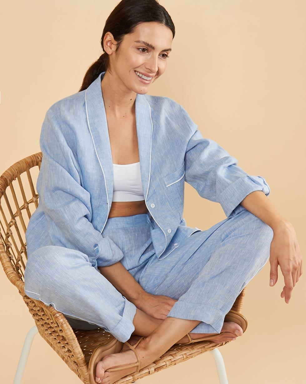 12Storeez Комплект: Рубашка с брюками изо льна (голубой меланж) 12storeez комплект рубашка с брюками изо льна черный