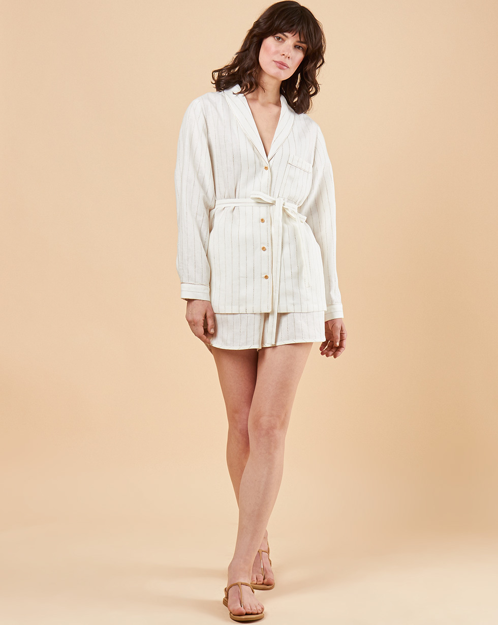 12Storeez Комплект: Рубашка с шортами изо льна (молочный в полоску)