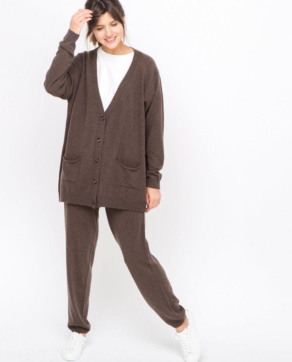Фото - 12Storeez Костюм: кардиган и брюки тонкой вязки из шерсти и кашемира (коричневый) 12storeez костюм кардиган и брюки тонкой вязки темно серый