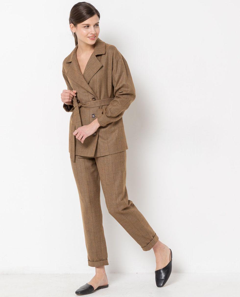 12Storeez Костюм: жакет двубортный и брюки в клетку (коричневый) 12storeez костюм жакет двубортный и брюки коричневый меланж