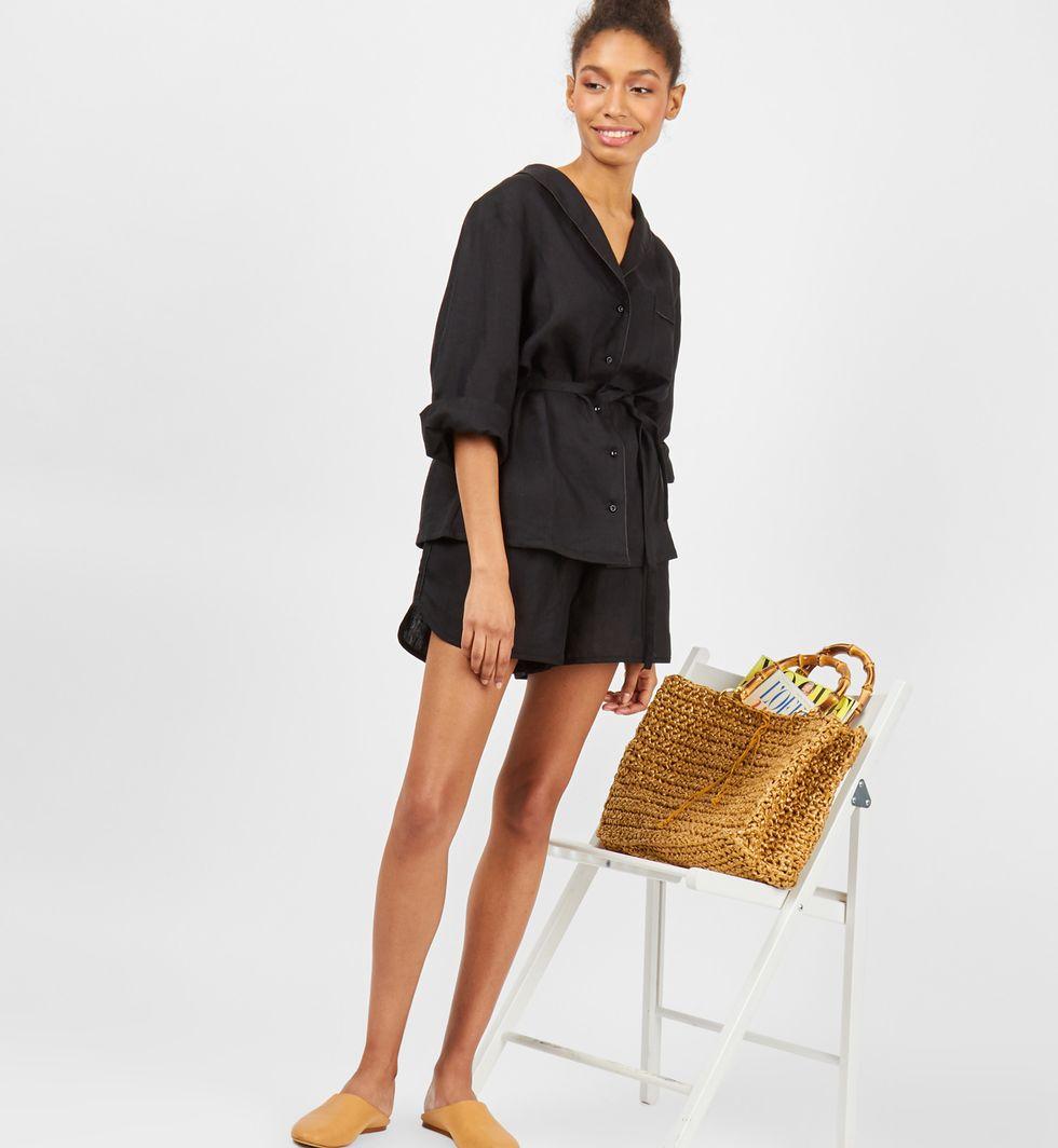 12Storeez Комплект: рубашка и шорты из льна (черный)