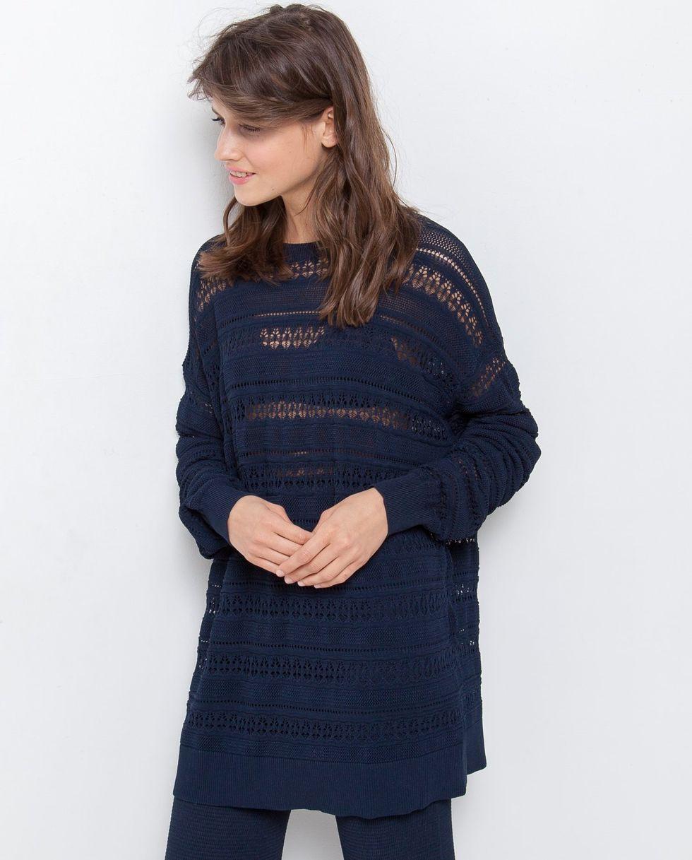 12Storeez Костюм трикотажный: джемпер и широкие брюки (темно-синий) цена