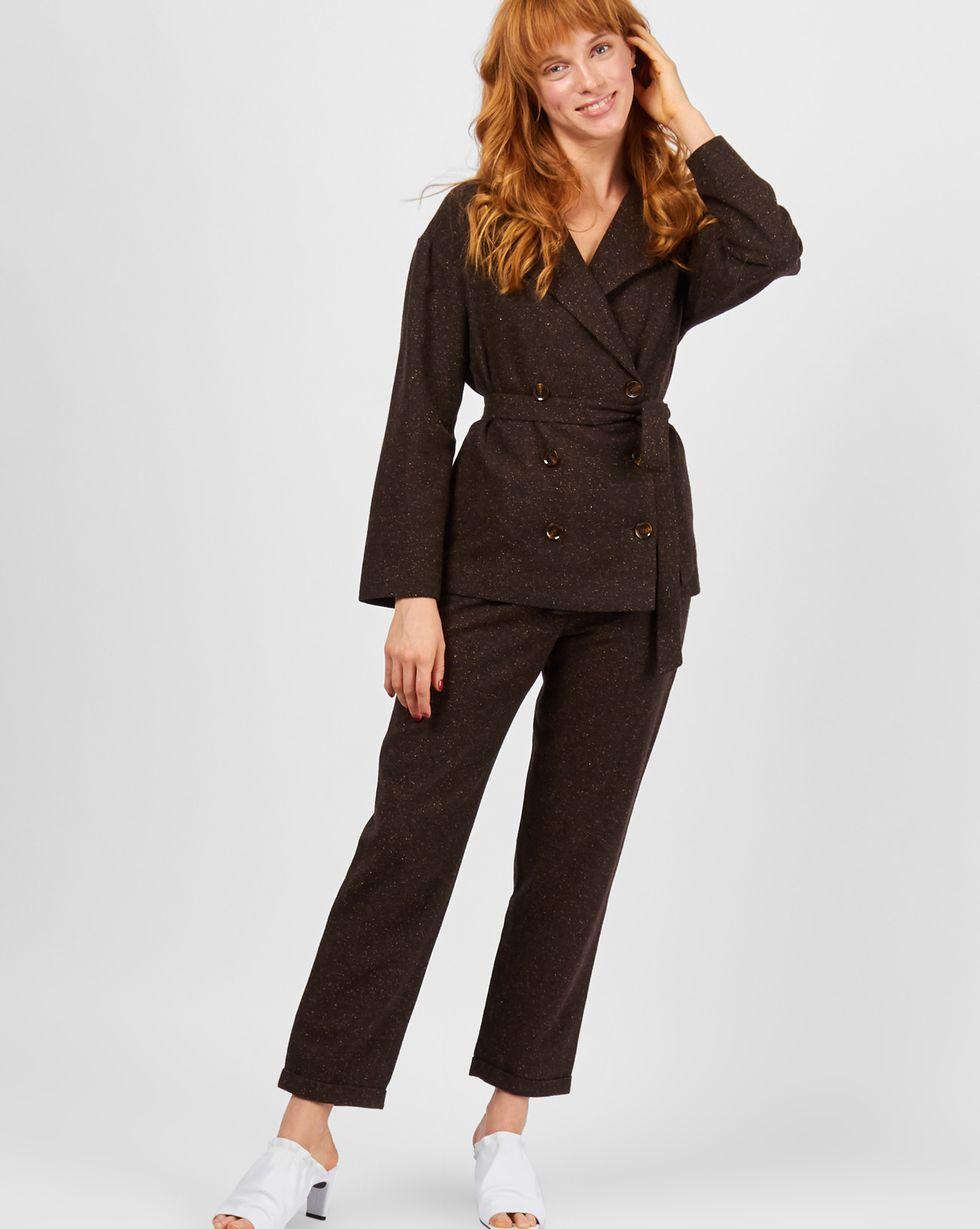 12Storeez Костюм: жакет двубортный и брюки (коричневый меланж)