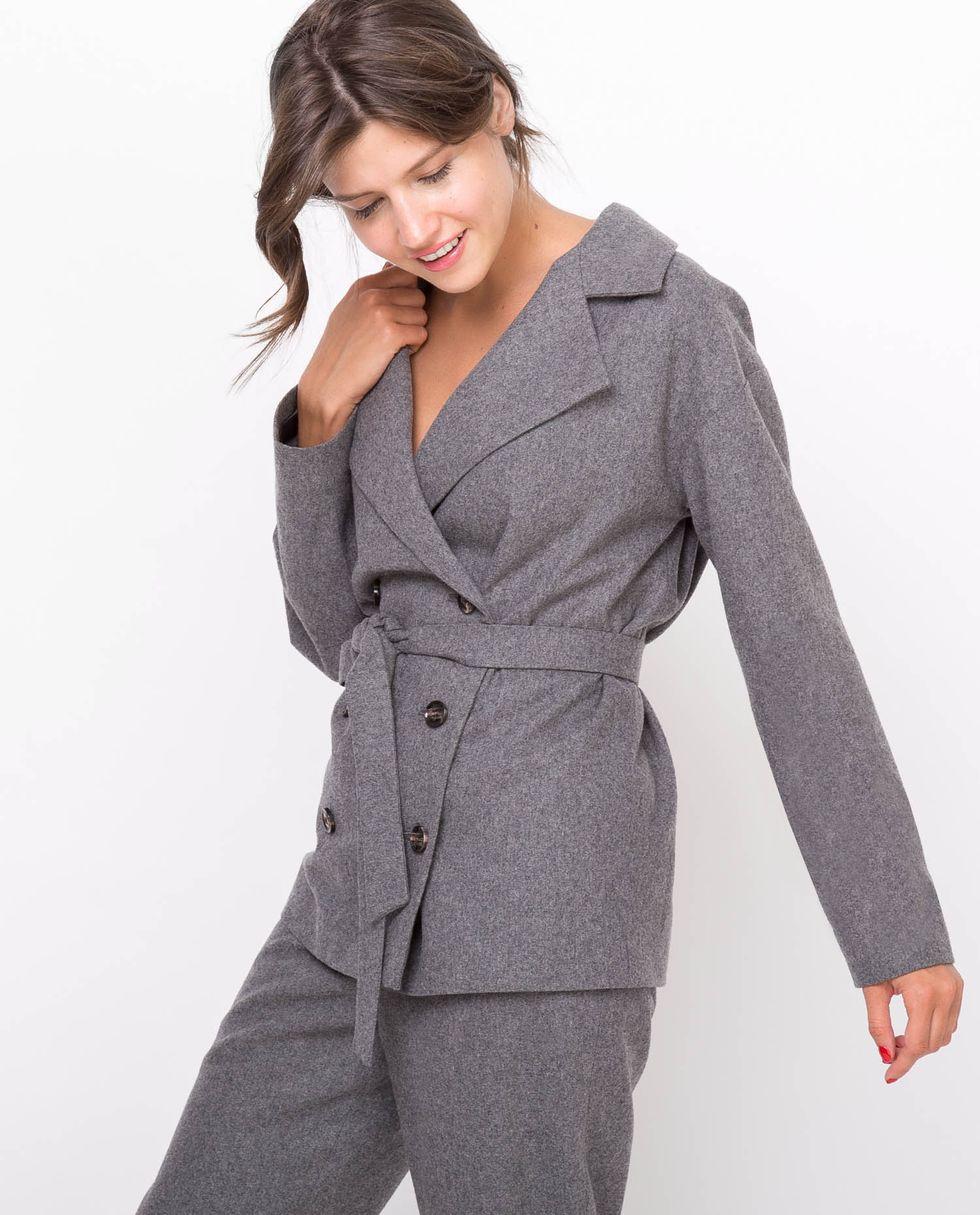 12Storeez Костюм: жакет двубортный и брюки (темно-серый) 12storeez костюм жакет двубортный и брюки коричневый меланж