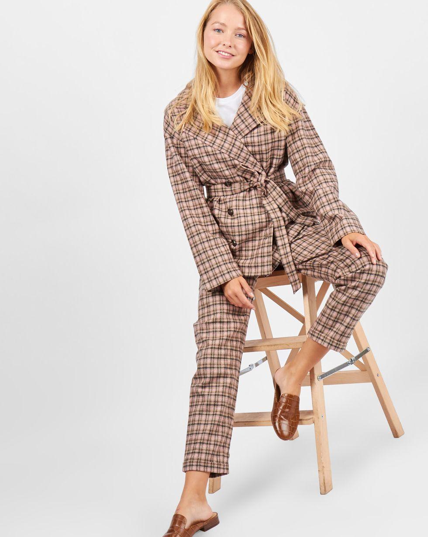 12Storeez Костюм: жакет двубортный и брюки в клетку (коричнево-розовый) 12storeez костюм жакет двубортный и брюки коричневый меланж