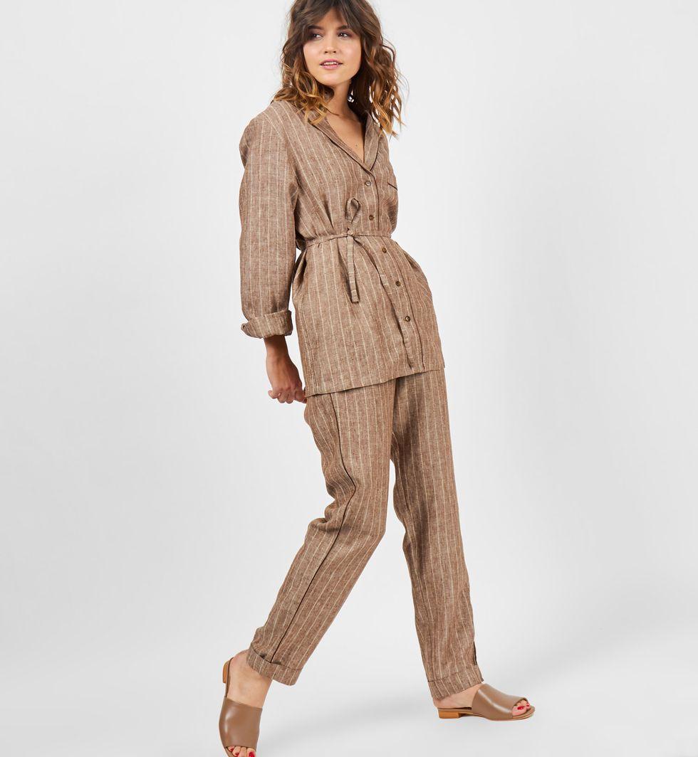 12Storeez Комплект: рубашка с брюками изо льна (темно-коричневый) цена 2017