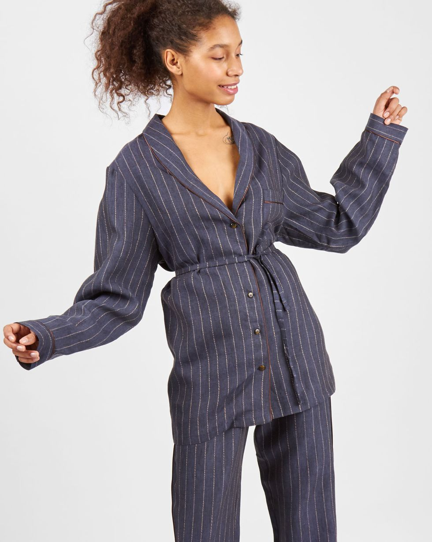Комплект: рубашка с брюками изо льна MКомплекты<br><br><br>Артикул: 708004<br>Размер: M<br>Цвет: Темно-синий<br>Новинка: НЕТ<br>Наименование en: Linen shirt and trousers co-ord