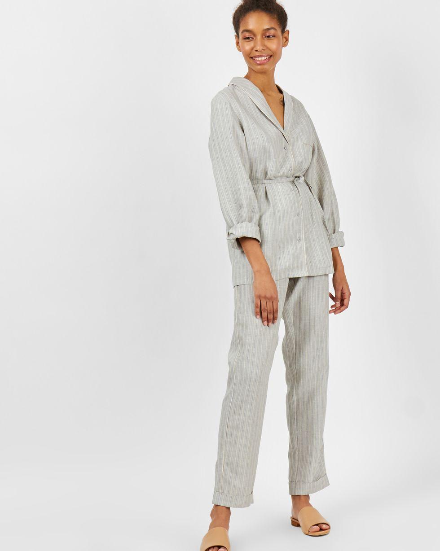 Фото - 12Storeez Комплект: рубашка с брюками изо льна (серый) 12storeez комплект рубашка с брюками изо льна коричневый