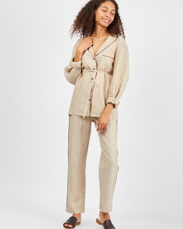 Фото - 12Storeez Комплект: рубашка с брюками изо льна (песочный) 12storeez комплект рубашка с брюками изо льна коричневый