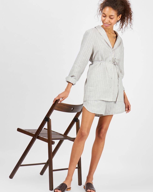 Комплект: рубашка с шортами изо льна Mкомплекты<br><br><br>Артикул: 708018<br>Размер: M<br>Цвет: Серый<br>Новинка: ДА<br>Наименование en: Linen shirt and shorts co-ord