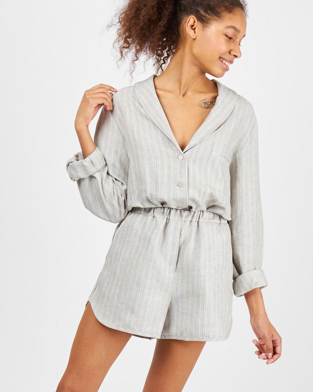 12Storeez Комплект: рубашка с шортами изо льна (серый) 12storeez комплект рубашка с шортами изо льна песочный