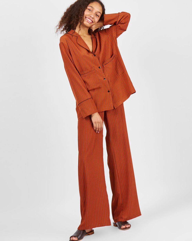 12Storeez Костюм: рубашка с широкими брюками (коричневый)