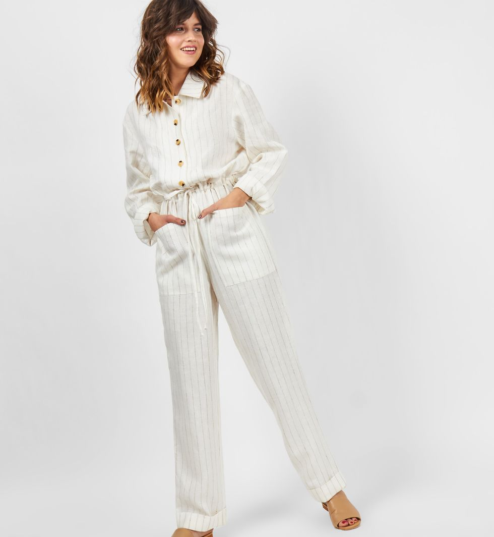 12Storeez Комбинезон изо льна (молочный) 12storeez костюм топ с длинными рукавами и удлиненные шорты изо льна черный