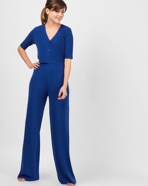 Костюм: кардиган укороченный с широкими брюками Sкомплекты<br><br><br>Артикул: 709689<br>Размер: S<br>Цвет: Темно-синий<br>Новинка: НЕТ<br>Наименование en: Cropped cardigan &amp; wide leg trousers co-ord