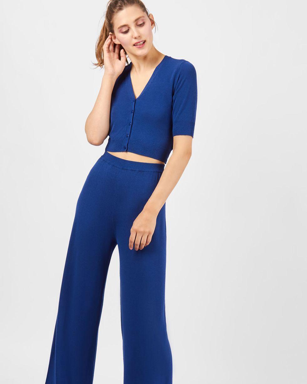 Костюм: кардиган с широкими брюками SКомплекты<br><br><br>Артикул: 709689<br>Размер: S<br>Цвет: Темно-синий<br>Новинка: НЕТ<br>Наименование en: Cropped cardigan &amp; wide leg trousers co-ord