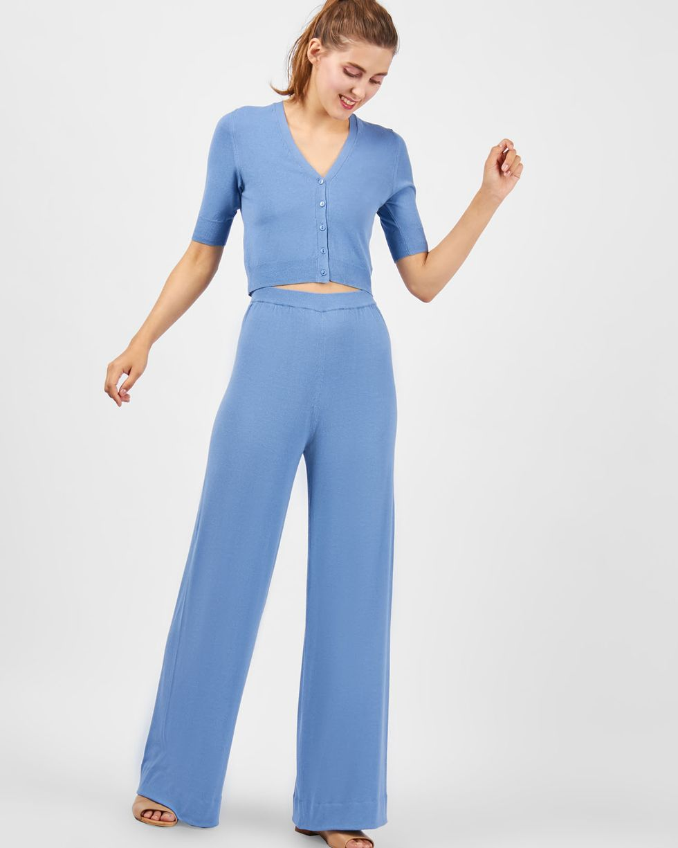 Костюм: кардиган с широкими брюками MКомплекты<br><br><br>Артикул: 709698<br>Размер: M<br>Цвет: Голубой<br>Новинка: НЕТ<br>Наименование en: Cropped cardigan &amp; wide leg trousers co-ord