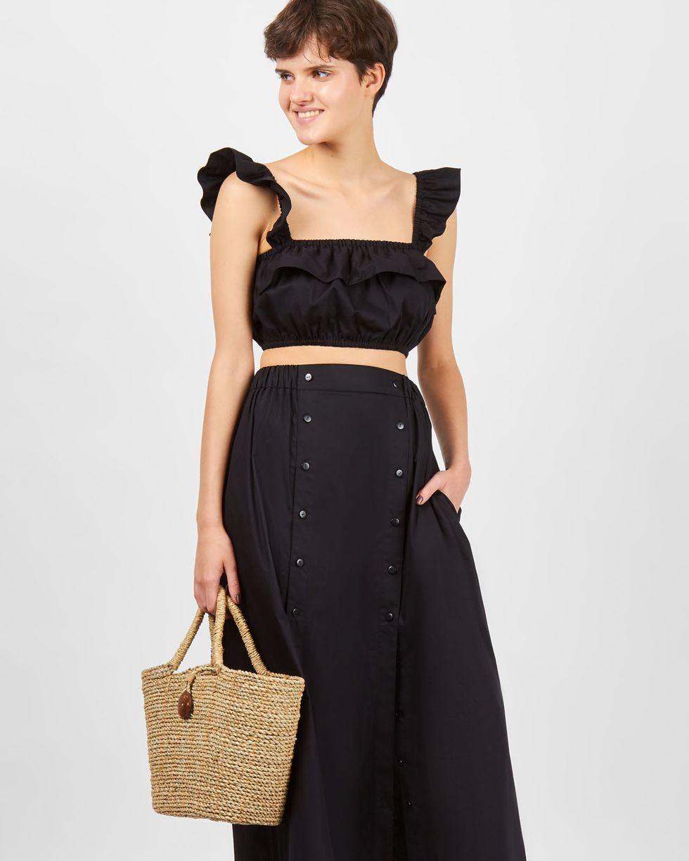 12Storeez Костюм: топ мини и юбка с двумя разрезами (черный) цены онлайн