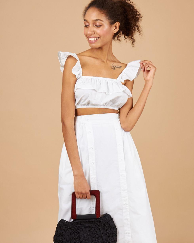 12Storeez Костюм: топ мини и юбка с двумя разрезами (белый) baci шаловливая медсестра топ трусики и мини юбка