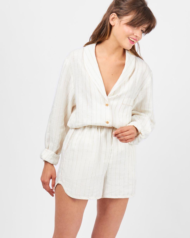 Комплект: рубашка с шортами изо льна SКомплекты<br><br><br>Артикул: 709907<br>Размер: S<br>Цвет: Молочный<br>Новинка: НЕТ<br>Наименование en: Linen shirt and shorts co-ord