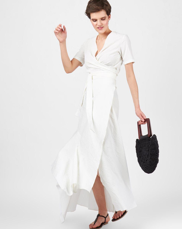 12Storeez Костюм: Топ на завязке и юбка макси на запах (белый) soft line горничная юбка топ и украшение на шею