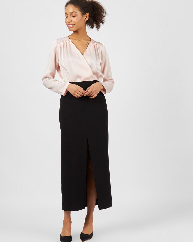 купить 12Storeez юбка миди с глубоким разрезом (черный) по цене 2790 рублей