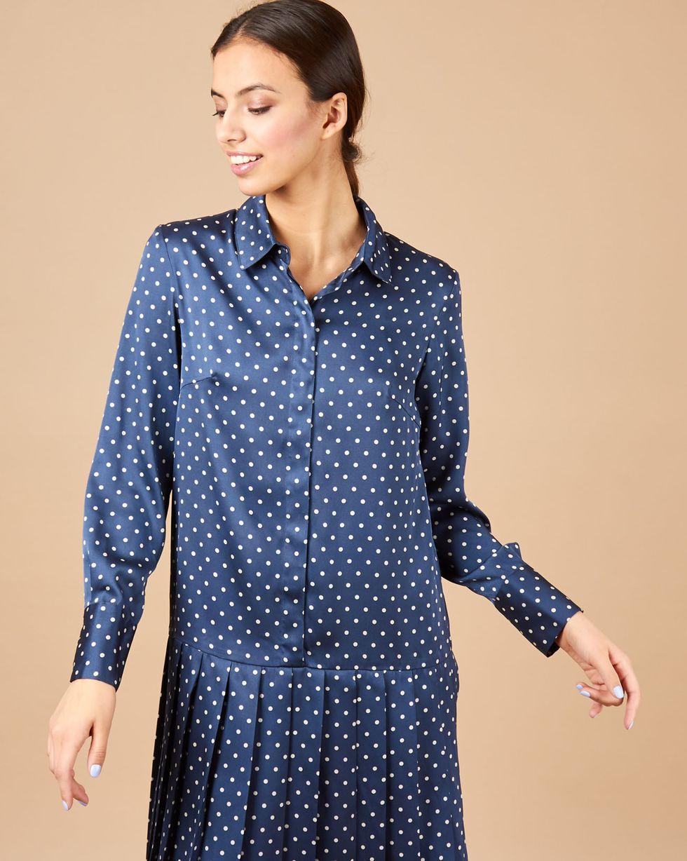 12Storeez Платье миди с плиссированным низом в горох (синий) 12storeez платье с плиссированным низом в горох желтый