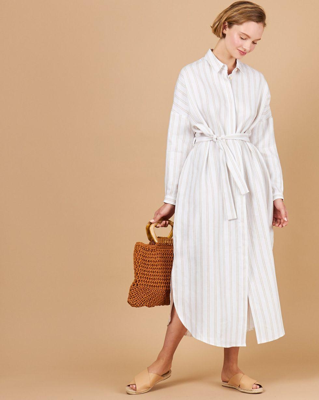 12Storeez Платье-рубашка на поясе изо льна (белый в полоску) цена и фото