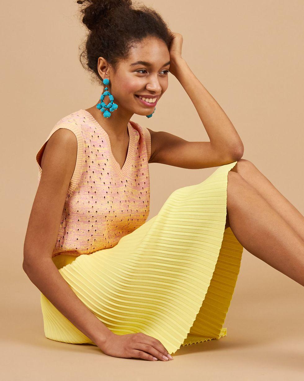 12Storeez Комплект: жилет и плиссированная юбка (розовый/желтый)