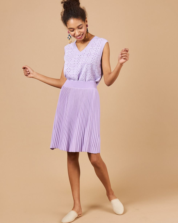 цены 12Storeez Комплект: жилет и плиссированная юбка (светло-сиреневый/сиреневый)